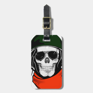 cool skull with sunglasses and helmet luggage tag