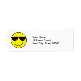 Cool Smiley Face with Sunglasses Return Address Label