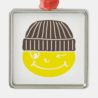Cool Smilie with cap Silver-Colored Square Decoration