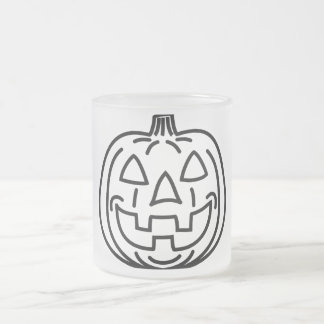 Cool smiling pumpkin frosted glass mug