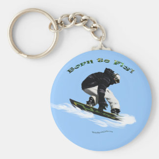 Cool Snow Boarder Winter Sports Theme Basic Round Button Key Ring