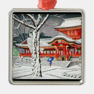 Cool snow in iwashimizu hachiman shrine kyoto Silver-Colored square decoration
