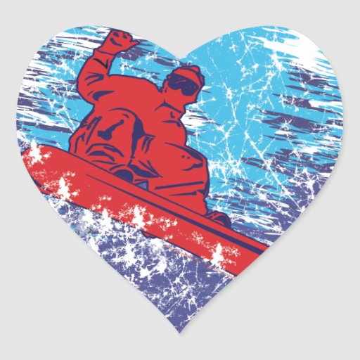 Cool Snowboarder Heart Stickers