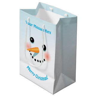 Cool Snowman With Rosy Cheeks Medium Gift Bag