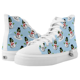 Cool Snowman with Shades Adorable Smirk pattern High Tops
