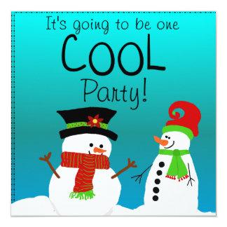 Cool Snowmen Birthday Party Invitation