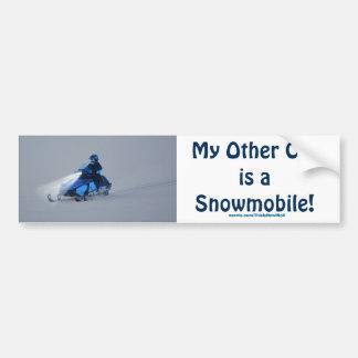 Cool Snowmobiler on Ice Lake Winter Sports Theme 2 Bumper Sticker