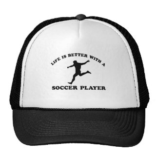 Cool soccer player designs hats