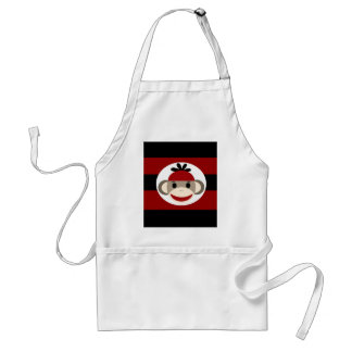 Cool Sock Monkey Beanie Hat Red Black Stripes Adult Apron
