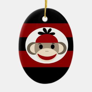 Cool Sock Monkey Beanie Hat Red Black Stripes Christmas Ornament
