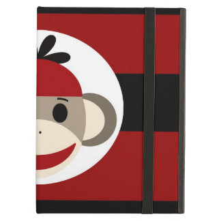Cool Sock Monkey Beanie Hat Red Black Stripes Cover For iPad Air