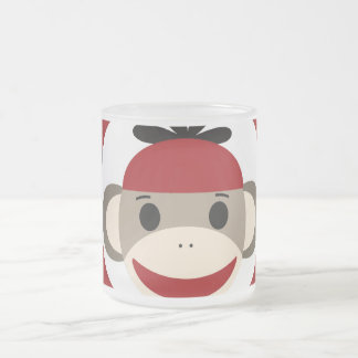 Cool Sock Monkey Beanie Hat Red Black Stripes Frosted Glass Mug