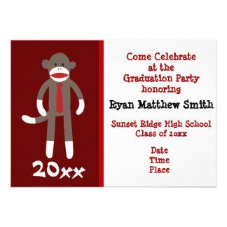 Cool Sock Monkey Graduation Party Invitations Boy