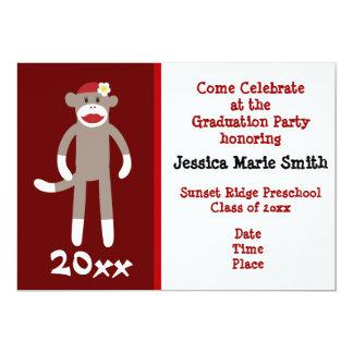 Cool Sock Monkey Preschool Graduation Invitations
