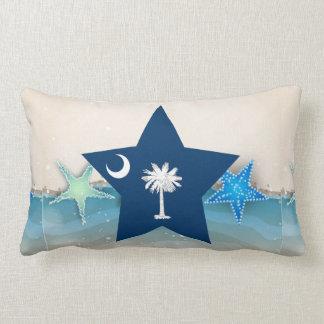 Cool South Carolina Flag at the Beach Lumbar Pillow