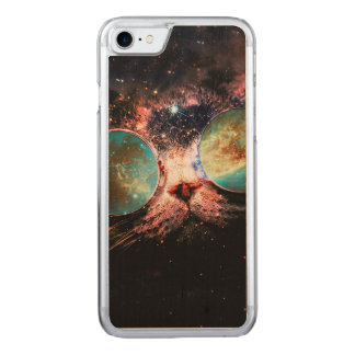 Cool Space Cat with Telescope Glasses in space Carved iPhone 8/7 Case
