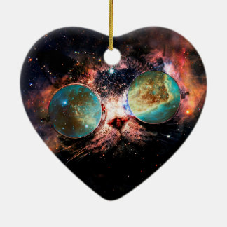 Cool Space Cat with Telescope Glasses in space Ceramic Heart Decoration