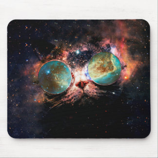 Cool Space Cat with Telescope Glasses in space Mouse Mat