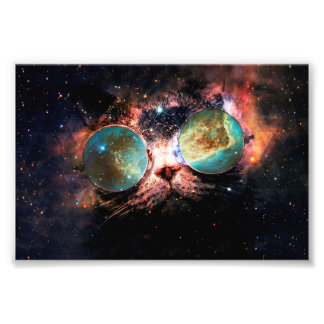 Cool Space Cat with Telescope Glasses in space Photo Print