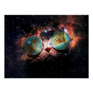 Cool Space Cat with Telescope Glasses in space Poster