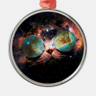 Cool Space Cat with Telescope Glasses in space Silver-Colored Round Decoration