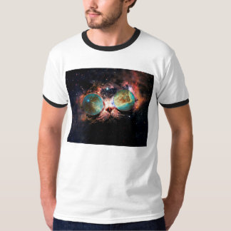 Cool Space Cat with Telescope Glasses in space Tees
