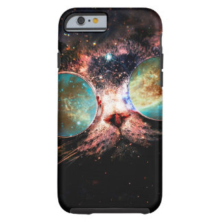 Cool Space Cat with Telescope Glasses in space Tough iPhone 6 Case