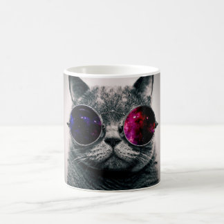 Cool Space Cat with Telescope Glasses Milky Way Basic White Mug