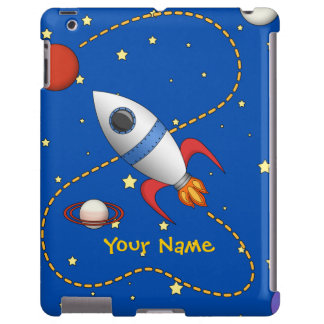 Cool Space Rocketship in Orbit Cartoon iPad Case