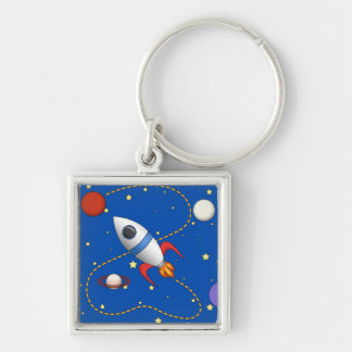Cool Space Rocketship in Orbit Cartoon Key Ring