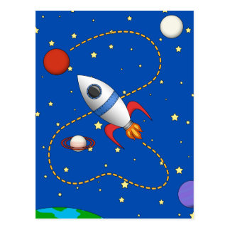 Cool Space Rocketship in Orbit Cartoon Postcard