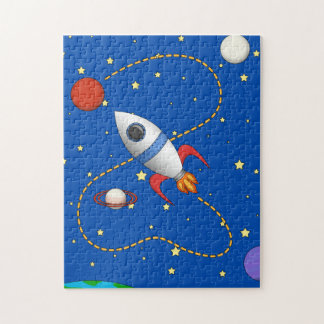 Cool Space Rocketship in Orbit Cartoon Puzzle
