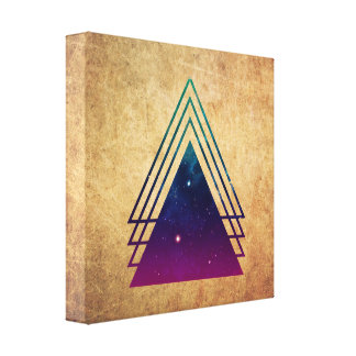 Cool Space Triangles on Grunge Background Canvas Print