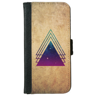 Cool Space Triangles on Grunge Background iPhone 6 Wallet Case