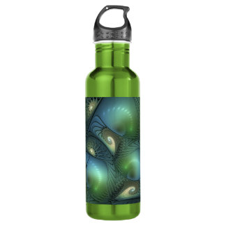 Cool Spirals Beige Green Turquoise Fractal 710 Ml Water Bottle