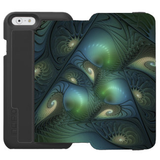 Cool Spirals Beige Green Turquoise Fractal Art Incipio Watson™ iPhone 6 Wallet Case