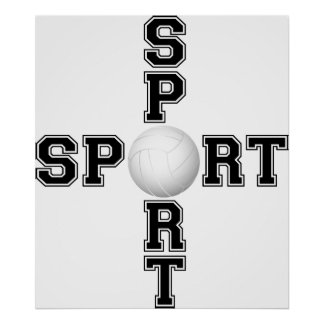 Cool Sport Volleyball Cross Poster