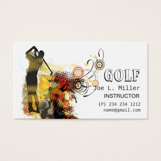 Cool Sports Urban Grunge Modern Golf Business Card