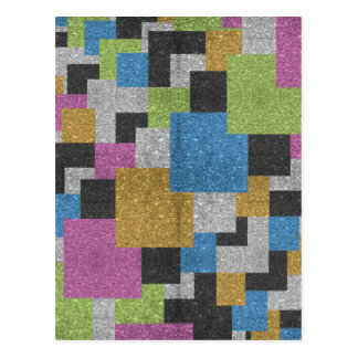 Cool squares shapes abstract art glitter shine postcard