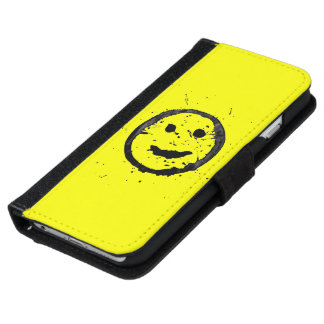 Cool Stained Happy Smiley face Yellow iPhone 6 Wallet Case