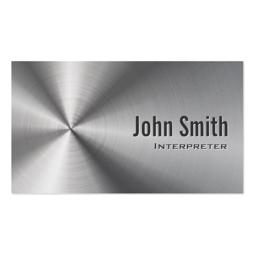 Cool Stainless Steel Interpreter Business Card