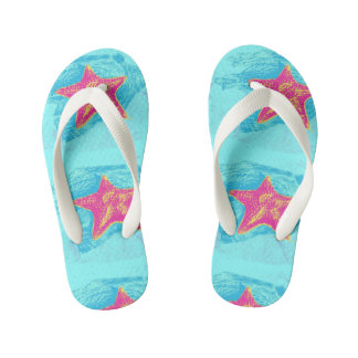 Cool Starfish in Teal Waters setting Flip Flops