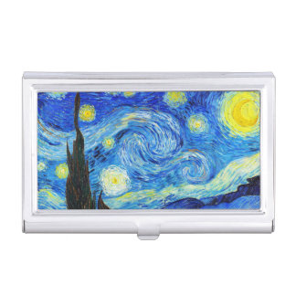 Cool Starry Night Vincent Van Gogh painting art Business Card Holder