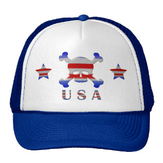 Cool Stars & Stripes Skull USA Patriotic Cap