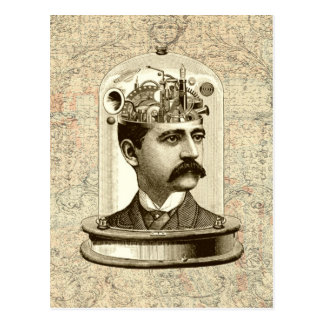 Cool Steampunk clockwork brain, head in jar art Postcard