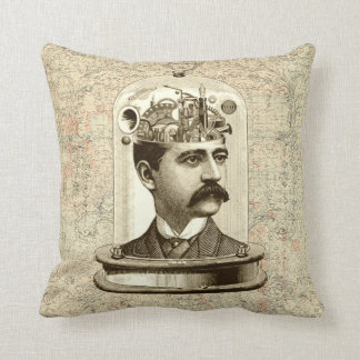 Cool Steampunk Cushion - clockwork brain head jar