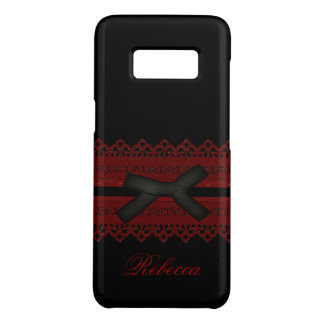 Cool Steampunk Gothic Red Lace Black bow Case-Mate Samsung Galaxy S8 Case