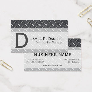 Cool Steel Gray Faux Metal Diamond Plate Pattern Business Card
