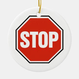 Cool STOP Sign Round Ceramic Decoration