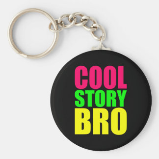 Cool Story Bro in Neon Style Colors Key Ring